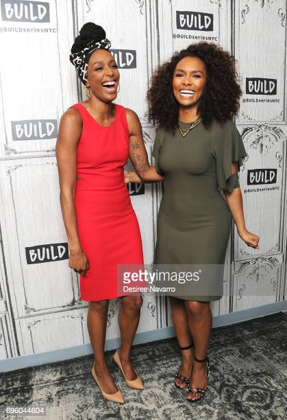 Actress Franchesca Ramsey and writer/ TV Host Janet Mock attend Build to discuss her book 'Surpassing Certainty: What My Twenties Taught Me' at Build...