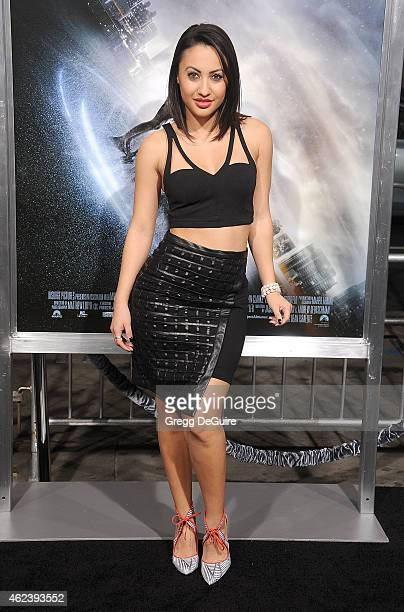 Actress Francia Raisa arrives at the Los Angeles premiere of 'Project Almanac' at TCL Chinese Theatre on January 27 2015 in Hollywood California