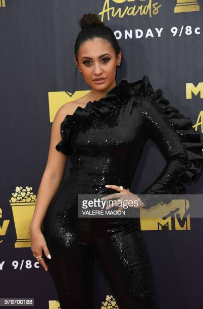 US actress Francia Raisa attends the 2018 MTV Movie TV awards at the Barker Hangar in Santa Monica on June 16 2018 This year's show is not live It...