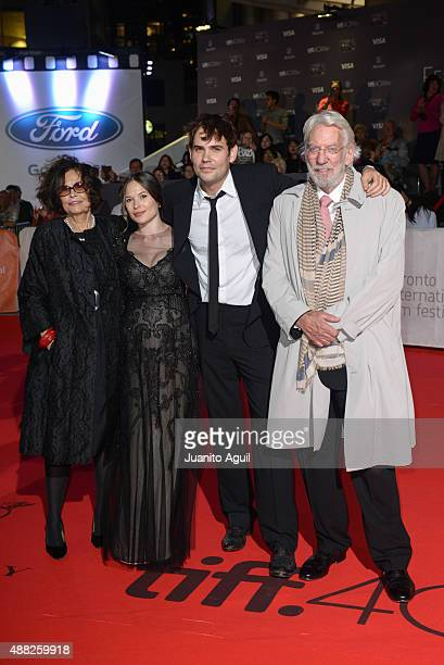 Actress Francine Racette actress Celina Sinden actor Rossif Sutherland and actor Donald Sutherland attend the premiere of 'Hyena Road' at Roy Thomson...