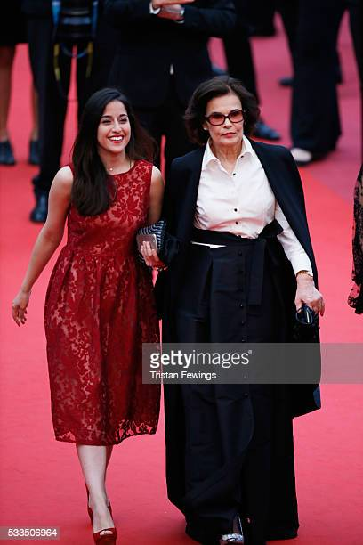 Actress Francine Racette and a guest attend the closing ceremony of the 69th annual Cannes Film Festival at the Palais des Festivals on May 22 2016...