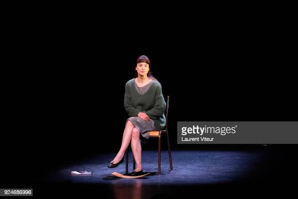 """Actress Francoise Gillard Performs """"L'Evenement"""" Theater Play during 'Paroles Citoyennes' 10 shows to wonder about the society at Theatre Antoine on..."""