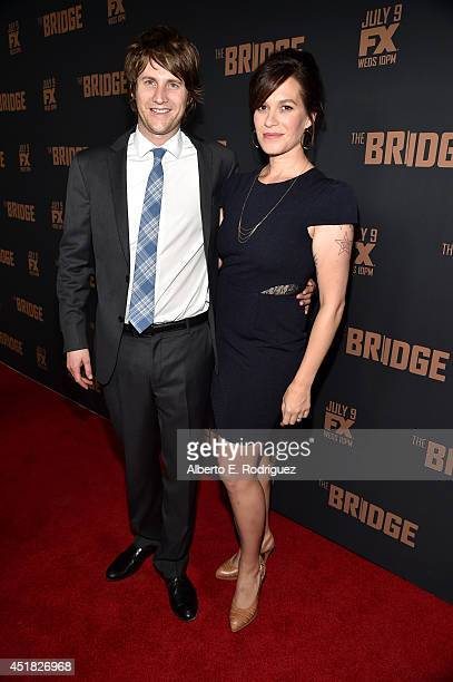 Actress Franka Potente and Derek Richardson attend the premiere of FX's 'The Bridge' at Pacific Design Center on July 7 2014 in West Hollywood...