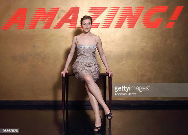 Actress Franziska Weisz wears a BOSS Black dress during a portrait session at the Grand Hyatt Berlin Hotel on February 18, 2010 in Berlin, Germany.