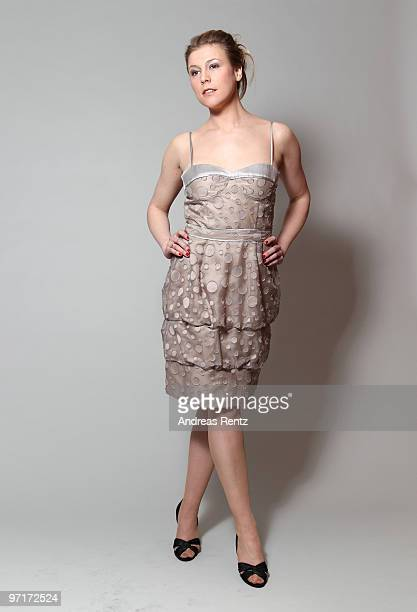 Actress Franziska Weisz wears a BOSS Black dress during a portrait session at the Grand Hyatt Berlin Hotel on February 18 2010 in Berlin Germany