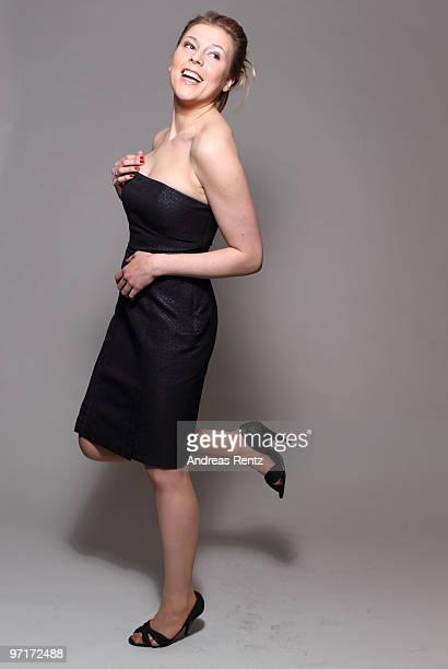 Actress Franziska Weisz wears a HUGO dress during a portrait session at the Grand Hyatt Berlin Hotel on February 18 2010 in Berlin Germany