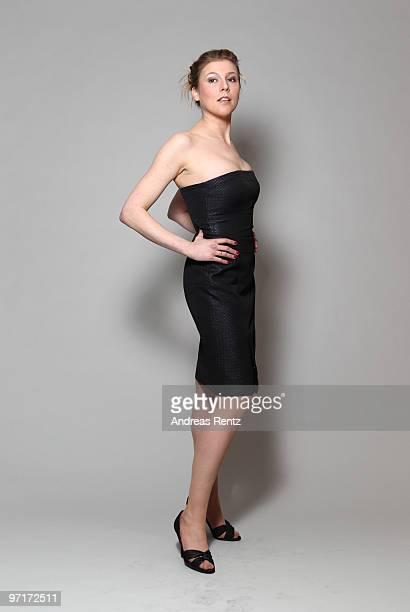 Actress Franziska Weisz wears a HUGO dress during a portrait session at the Grand Hyatt Berlin Hotel on February 18 2010 in Berlin Germany