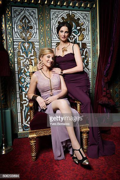 Actress Frederique Bel and harpist Anja Linder are photographed for Self Assignment on August 9 2015 in Paris France