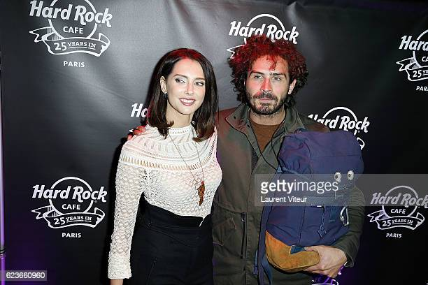 Actress Frederique Bel and Humorist Maxime Musqua attend 'Hard Rock Cafe Paris 25th Anniversary Celebration' at Hard Rock Cafe on November 16 2016 in...