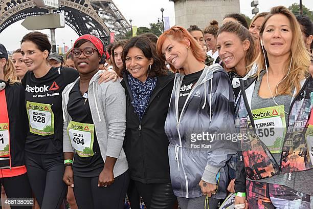 Actress Frederique Bel comedian Claudia Tagbo mayor of Paris Anne Hidalgo Fauve Hautot Silvia Notargiacomo and Tv presenter Stephanie Loire attend...