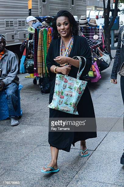Actress Freema Agyeman enters the 'Carrie Diaries' movie set in Midtown Manhattan on August 15 2013 in New York City