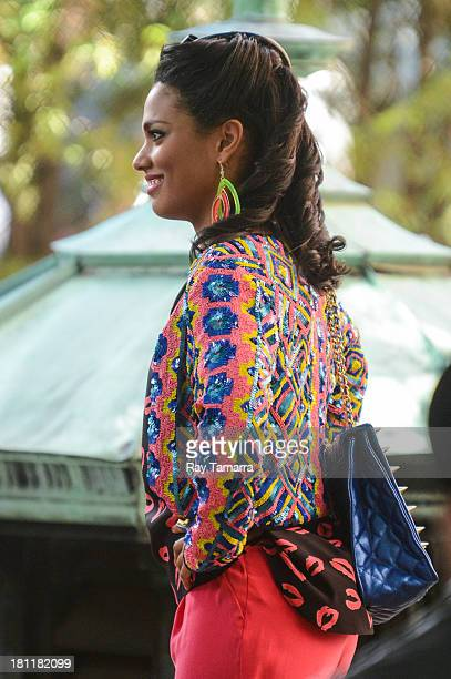Actress Freema Agyeman films a scene at 'The Carrie Diaries' movie set at the Lower East Side on September 19 2013 in New York City