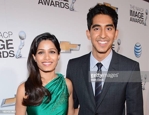 Actress Freida Pinto and actor Dev Patel arrive at the 44th NAACP Image Awards held at The Shrine Auditorium on February 1 2013 in Los Angeles...