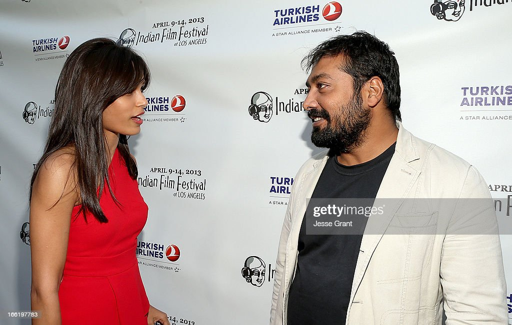 Actress Freida Pinto and director Anurag Kashyap attend the Indian Film Festival of Los Angeles (IFFLA) Opening Night Gala for 'Gangs Of Wasseypur' at ArcLight Cinemas on April 9, 2013 in Hollywood, California.
