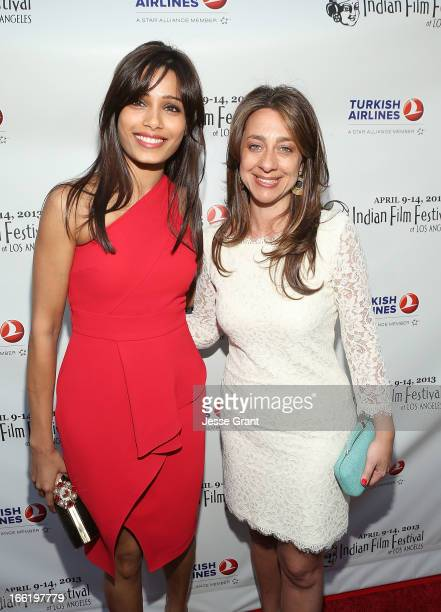 Actress Freida Pinto and IFFLA Founder Christina Marouda attend the Indian Film Festival of Los Angeles Opening Night Gala for Gangs Of Wasseypur at...