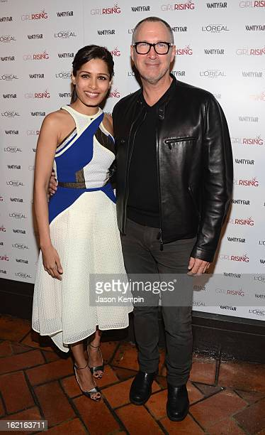 Actress Freida Pinto and Publisher of Vanity Fair Edward Menicheschi attend Vanity Fair and L'Oréal Parishosted DJ Night with Freida Pinto in support...