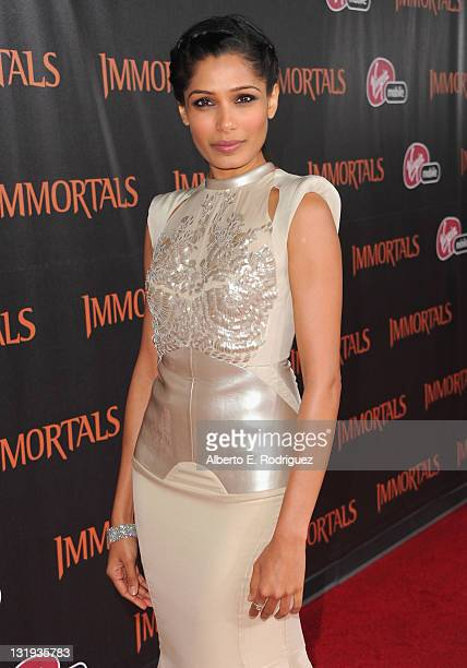 Actress Freida Pinto arrives at Relativity Media's Immortals premiere presented in RealD 3 at Nokia Theatre LA Live at Nokia Theatre LA Live on...