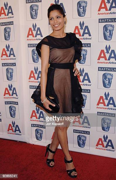 Actress Freida Pinto arrives at the 18th Annual BAFTA/LA Britannia Awards at Hyatt Regency Century Plaza on November 5, 2009 in Century City,...