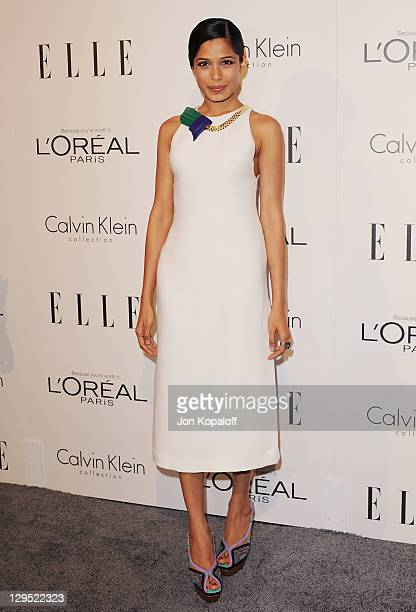 Actress Freida Pinto arrives at the 18th Annual ELLE Women In Hollywood Tribute at The Four Seasons Hotel on October 17, 2011 in Beverly Hills,...