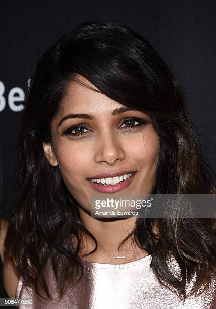 Actress Freida Pinto arrives at the premiere of Substance Over Hype's 'Two Bellmen Two' at the JW Marriott Los Angeles at LA LIVE on February 4 2016...