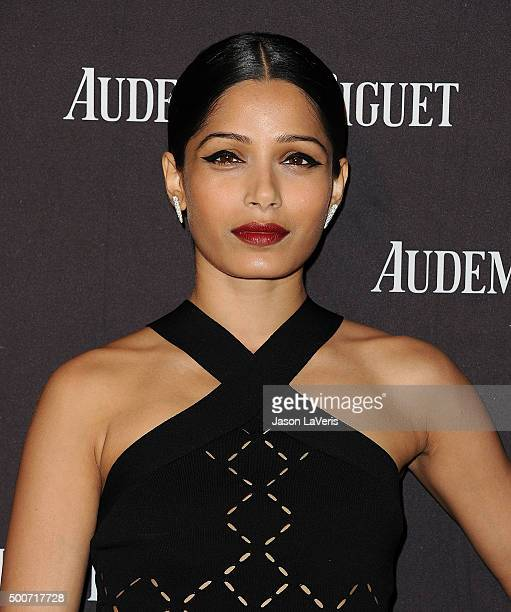 Actress Freida Pinto attends attend the grand opening of the Audemars Piguet Rodeo Drive Boutique on December 9 2015 in Beverly Hills California