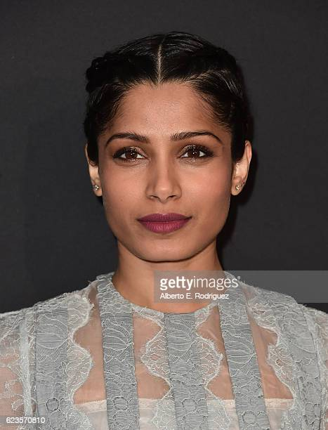 Actress Freida Pinto attends Prada Presents 'Past Forward' by David O Russell premiere at Hauser Wirth Schimmel on November 15 2016 in Los Angeles...