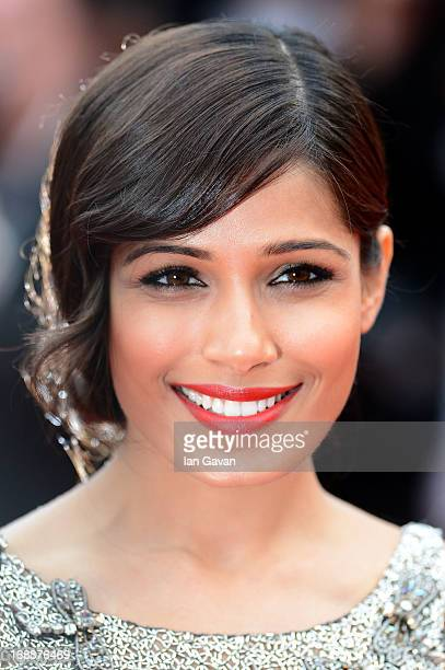 Actress Freida Pinto attends the 'Jeune Jolie' premiere during The 66th Annual Cannes Film Festival at the Palais des Festivals on May 16 2013 in...
