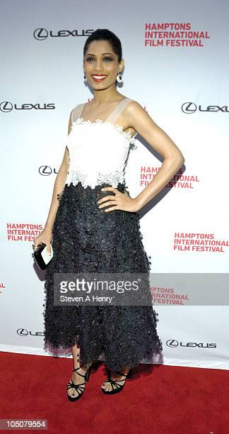 Actress Freida Pinto attends the Miral Premiere during the 18th Annual Hamptons International Film Festival at United Artists East Hampton Cinema on...