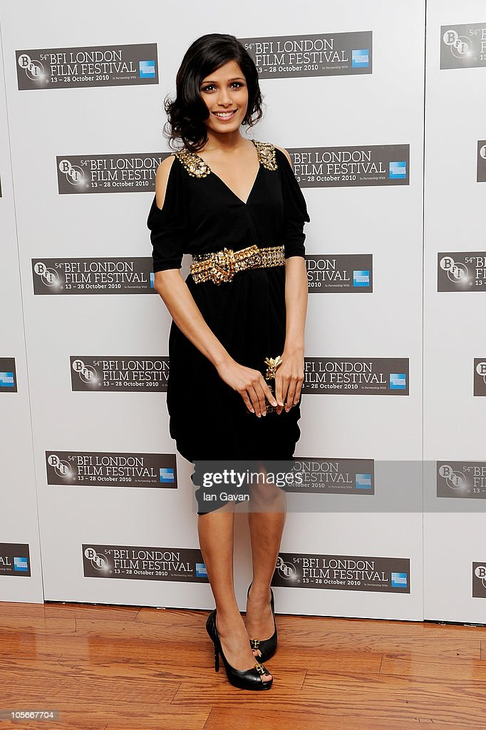 Actress Freida Pinto attends the 'Miral' premiere during the 54th BFI London Film Festival at the Vue West End on October 18, 2010 in London, England.