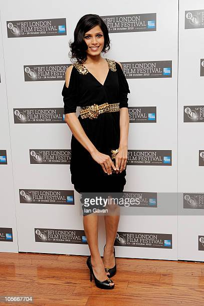 "Actress Freida Pinto attends the ""Miral"" premiere during the 54th BFI London Film Festival at the Vue West End on October 18, 2010 in London, England."