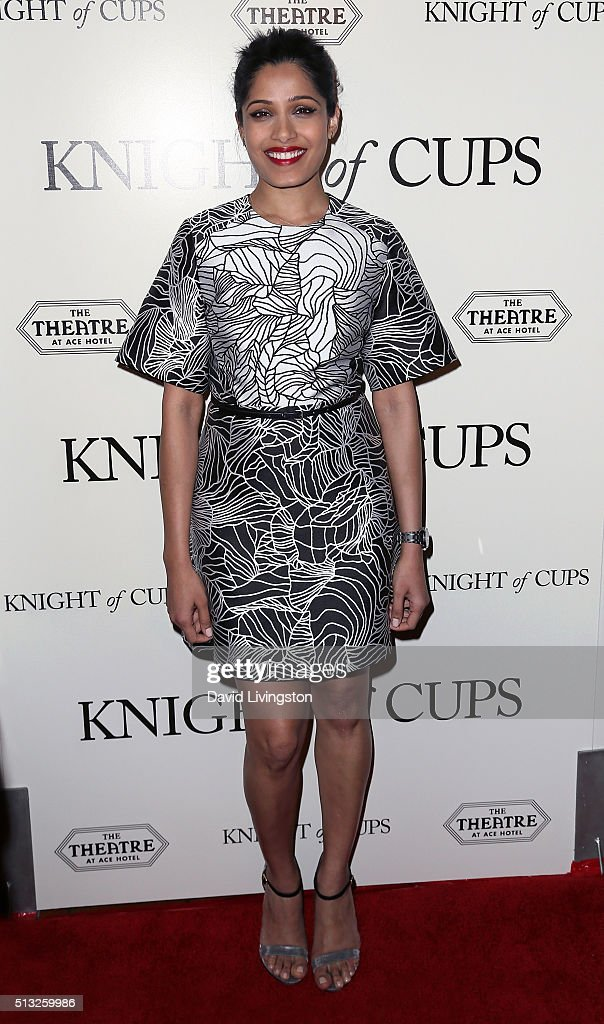 Actress Freida Pinto attends the premiere of Broad Green Pictures' 'Knight of Cups' at The Theatre at Ace Hotel on March 1, 2016 in Los Angeles, California.