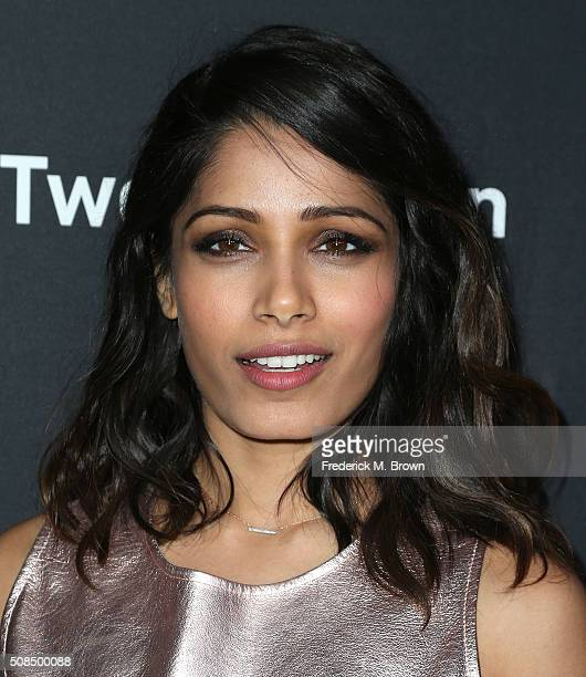 Actress Freida Pinto attends the Premiere of Substance Over Hype's 'Two Bellmen Two' at the JW Marriott Los Angeles at LA LIVE on February 4 2016 in...