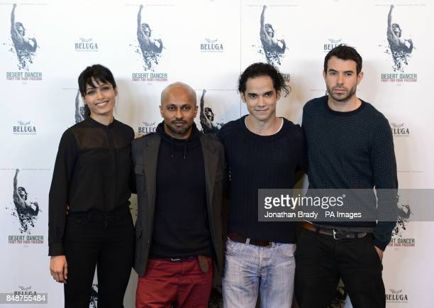 Actress Freida Pinto choreographer Akram Khan actors Reece Ritchie and Tom Cullen attend a photocall to publicise the upcoming film Desert Dancer at...