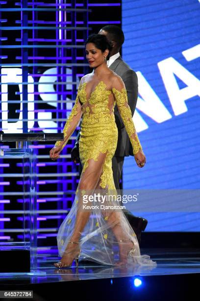 Actress Freida Pinto is seen on stage onstage during the 2017 Film Independent Spirit Awards at the Santa Monica Pier on February 25 2017 in Santa...