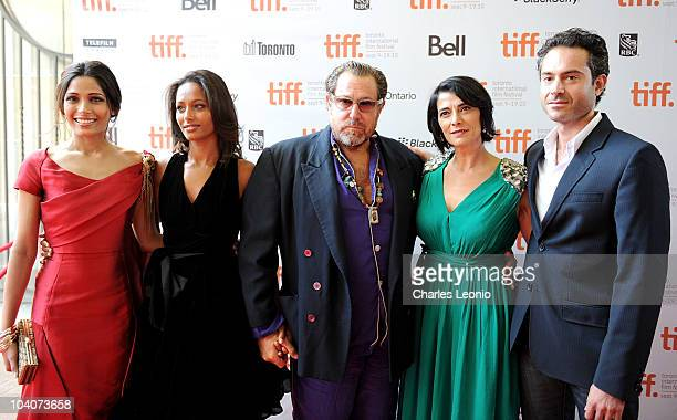 Actress Freida Pinto journalist Rula Jebreal director/artist Julian Schnabel actress Hiam Abbass and actor Omar Metwally attend the 'Miral' Premiere...
