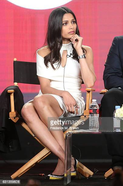 Actress Freida Pinto of the television show 'Guerrilla' speaks onstage during the Showtime portion of the 2017 Winter Television Critics Association...