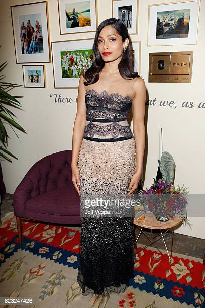 Actress Freida Pinto poses in the green room at Glamour Women Of The Year 2016 at NeueHouse Hollywood on November 14 2016 in Los Angeles California