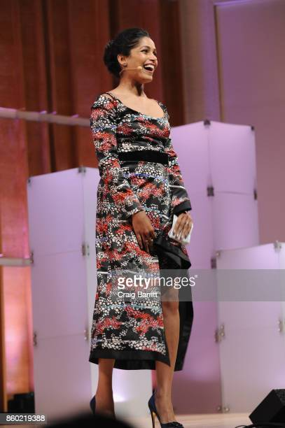 Actress Freida Pinto speaks onstage during Glamour's 'The Girl Project' on the International Day of the Girl on October 11 2017 in New York City