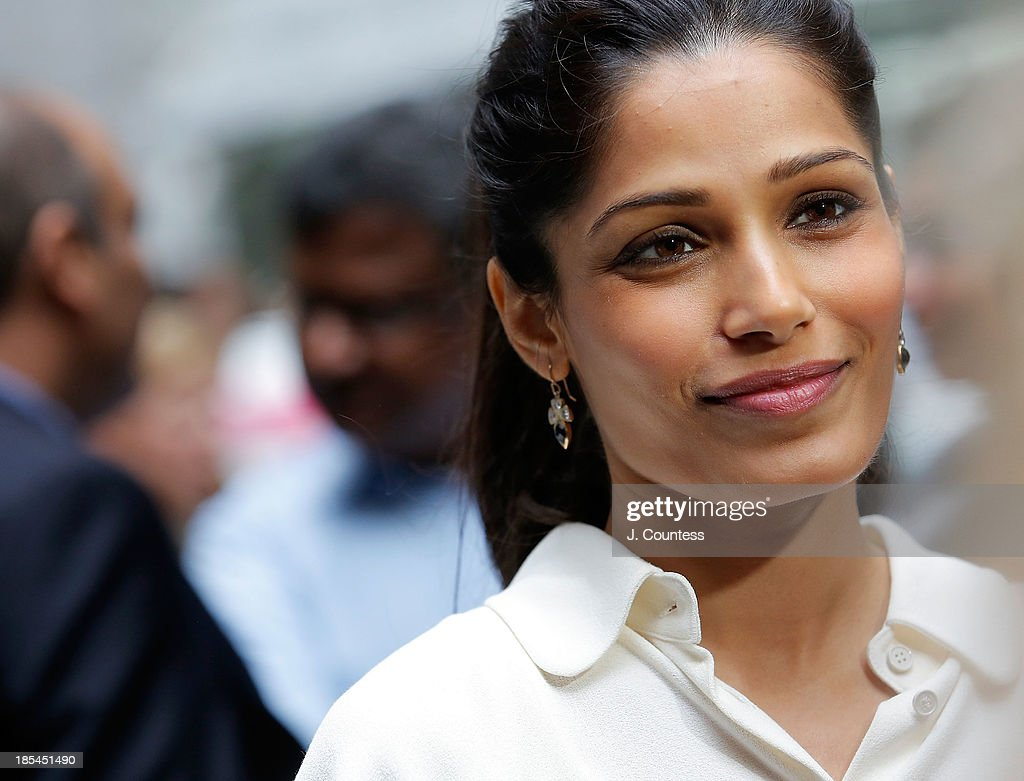 Actress Freida Pinto speaks to the media during the 'Day Of The Girl' Fresco Unveiling With Freida Pinto at UNICEF House on October 11, 2013 in New York City.