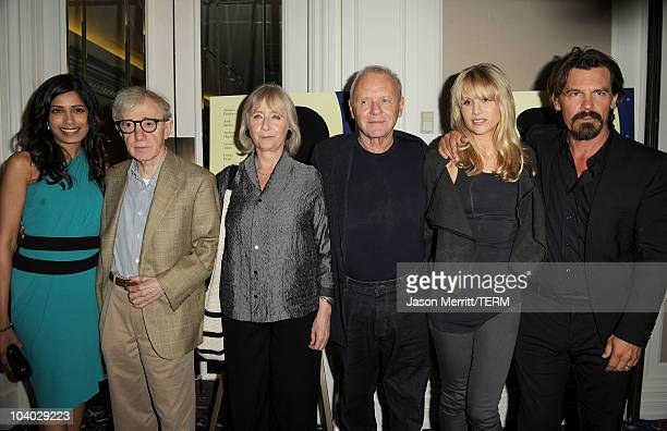Actress Freida Pinto writer/director Woody Allen actors Gemma Jones Anthony Hopkins Lucy Punch and Josh Brolin attend the You Will Meet A Tall Dark...