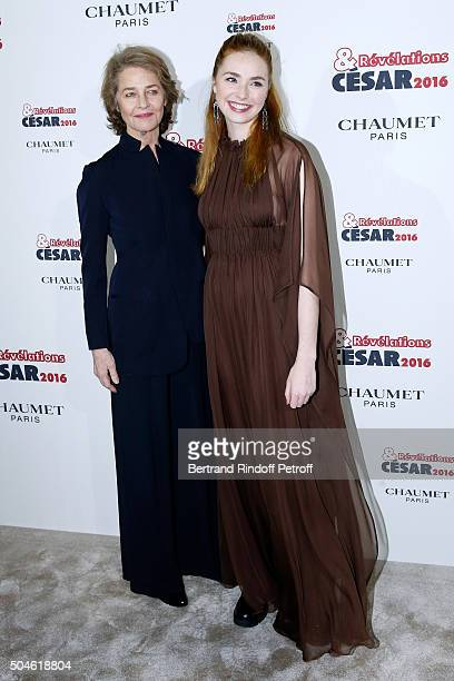 Actress Freya Mavor nominated for 'La dame dans l'auto' and her sponsor Charlotte Rampling attend the 'Cesar Revelations 2016' Photocall at Chaumet...