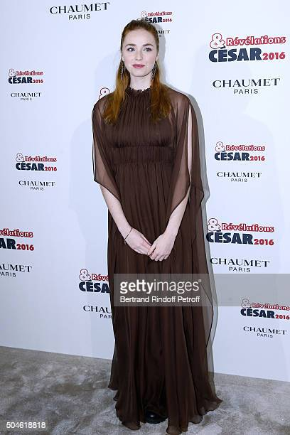 Actress Freya Mavor nominated for 'La dame dans l'auto' attends the 'Cesar Revelations 2016' Photocall at Chaumet followed by a dinner at Hotel...