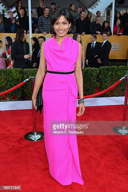 Actress Frieda Pinto arrives at the 19th Annual Screen Actors Guild Awards held at The Shrine Auditorium on January 27, 2013 in Los Angeles,...