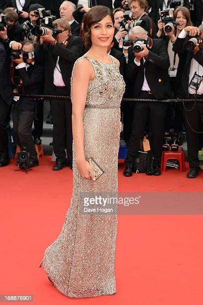 Actress Frieda Pinto attends the 'Jeune Jolie' premiere during The 66th Annual Cannes Film Festival at the Palais des Festivals on May 16 2013 in...