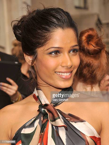 Actress Frieda Pinto attends the Salvatore Ferragamo Women's Resort 2012 Collection at the James B. Duke Mansion on June 28, 2011 in New York City.