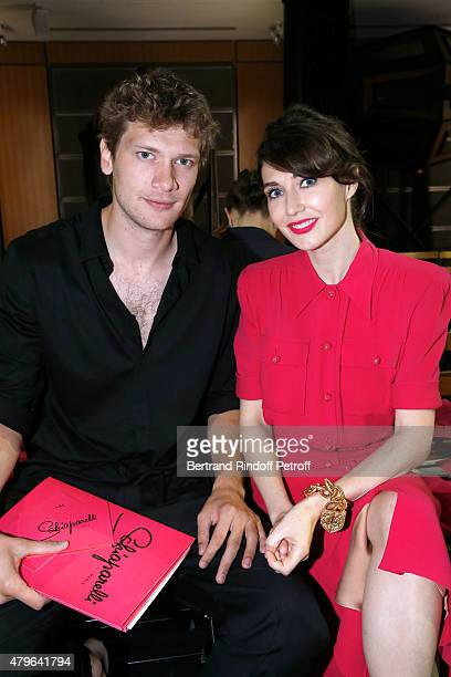Actress from 'Game of Thrones' Carice Van Houten and her companion Director Kees Van Nieuwkerk attend the Schiaparelli show as part of Paris Fashion...