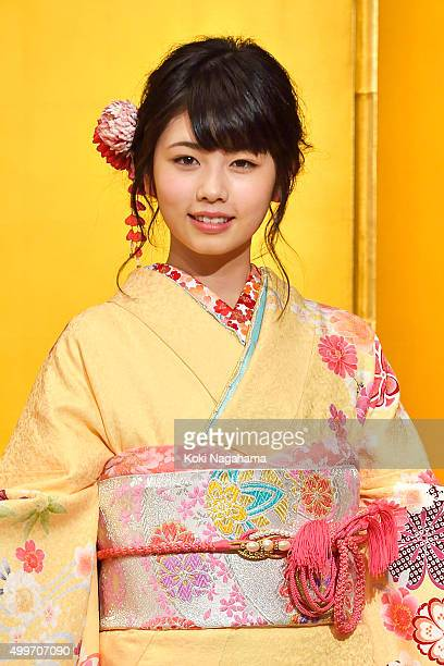 Actress Fuka Koshiba attends the New Year's Kimono photocall for Oscar Promotion on December 3 2015 in Tokyo Japan