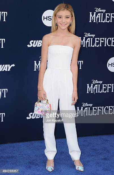 Actress G Hannelius arrives at the Los Angeles Premiere 'Maleficent' at the El Capitan Theatre on May 28 2014 in Hollywood California