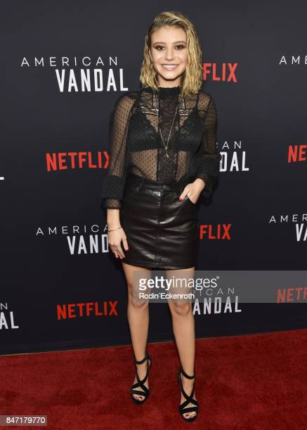 Actress G Hannelius attends the premiere of Netflix's American Vandal at ArcLight Hollywood on September 14 2017 in Hollywood California