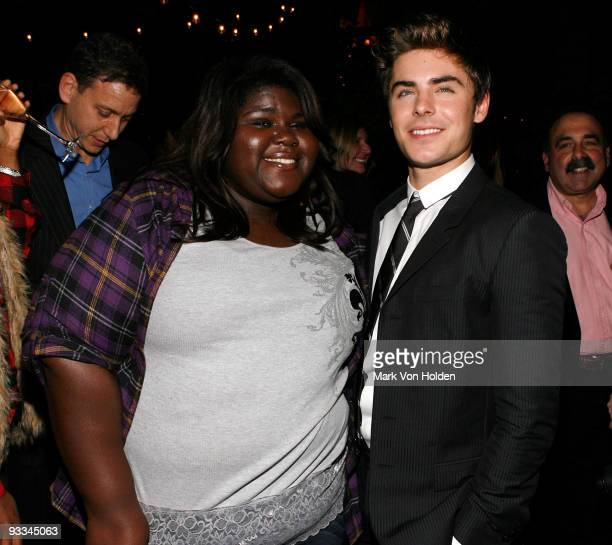 """Actress Gabby Sidibe and actor Zac Efron attend the after party for The Cinema Society with Screenvision & Brooks Brothers screening of """"Me And Orson..."""